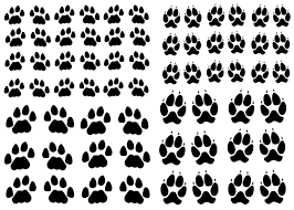 black white silk screen enamel cat dog paw prints fire