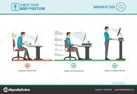 posture bureau bonne séance à ergonomie posture bureau image vectorielle elenabs