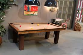 Custom Brown Dining Room Pool Table Under Big Dark Industrial Lamp - Combination pool table dining room table