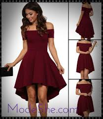 burgundy off shoulder high low cocktail party dress mb61346 3
