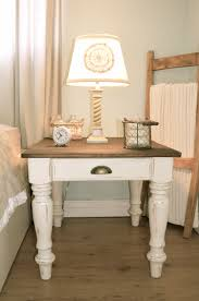 distressed antique white country farmhouse style night stand by
