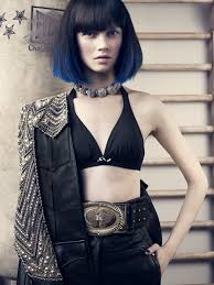 long bob with dipped ends hair bikini top with leather skirt dip dyed dark hair colored hair