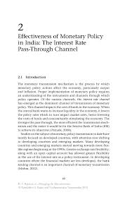 effectiveness of monetary policy in india the interest rate pass