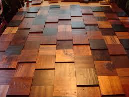 mojo repurposed wood flooring for wood tile wall at stairway