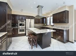 kitchen suburban home stovetop island stock photo 553185736