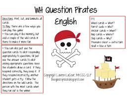 wh question pirates english u0026 spanish busy bee speech