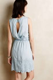 holding horses embroidered chambray dress in blue lyst