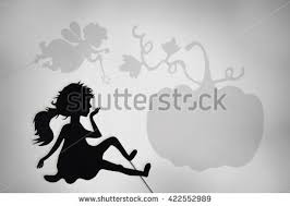 fairy godmother cinderella shadow puppets shade stock illustration