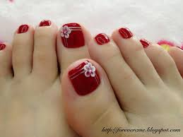 beautiful red toe nails with white 3d flower nail art do it