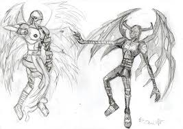angel vs devil sketch by danitheangeldevil on deviantart