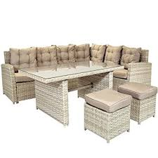 Milano Patio Furniture by Charles Bentley 6 Seater Milano Deluxe Multifunctional Rattan