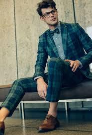 men u0027s navy plaid suit grey dress shirt tan leather brogues
