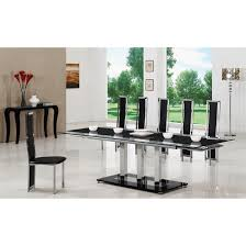 Black Extending Glass Dining Table And  G Chairs - Black dining table for 8