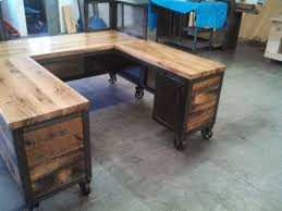 Reclaimed Wood Reception Desk Real Industrial Edge Furniture Llc Industrial Reception Desk