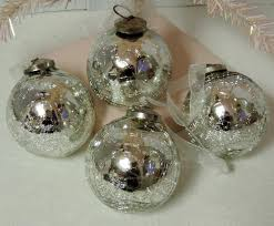 antiqued silver mercury glass tree ornaments