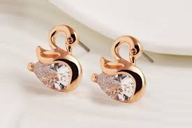 small earrings design 2017 high quality zircon swan earrings unique design small