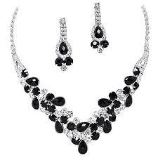 elegant necklace set images Elegant black v shaped garland prom bridesmaid evening jpg