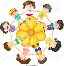 clipart of a children holding hands on a yellow daisy flower by