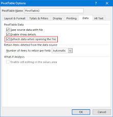 how do you refresh a pivot table automatic update refresh of all pivot tables at file opening how