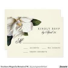 botanical sts southern magnolia botanical wedding rsvp card botanical wedding