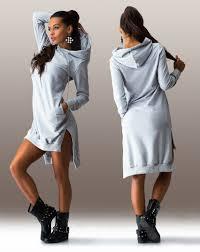 fancy casual shift asymmetric hooded casual sport tunic