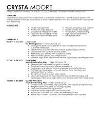 Food Service Resume Sample Resume Server Resume Examples