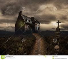 skull halloween background halloween background with old house stock photo image 58502384