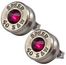 bullet stud earrings black gun nickel plated 40 s w bullet shell swarovski