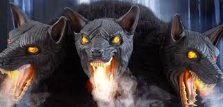 spirit halloween fangs werewolf dog animated halloween prop cerberus dogs fangs fog 3