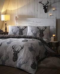 tartan check stag rein deer duvet quilt cover king bedding bed set