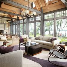 metal ceiling beams living room contemporary with glass coffee