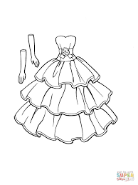 a dress that goes with gloves coloring page free printable
