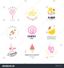 vector flat logo collection candy shop stock vector 328587860