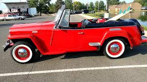 willys jeepster 1949 red willys overland jeepster convertible youtube