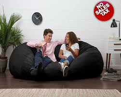 Used Lovesac Oversized Bean Bag Chair Seat Xl Black Suede Lounger Lovesac
