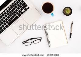 Office Desk Table Modern White Office Desk Table Laptop Arkivbilde 457687084