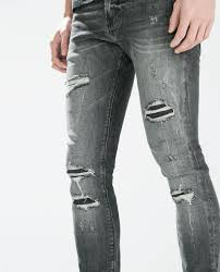 Ripped Denim Jeans For Men Zara Ripped Skinny Jeans In Gray For Men Lyst