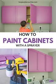 how to paint kitchen cabinets sprayer how to paint cabinets with a sprayer two purple couches