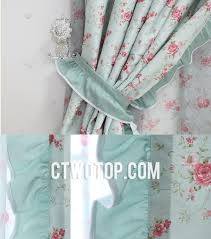 Teal And Red Curtains Fabric And Red Flower Bow Tie Style Polyester Bedroom Curtains