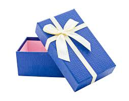 blue and gold ribbon blue open gift box with white and gold ribbon stock photo image