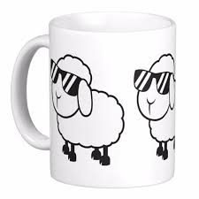 white sheep in sunglasses cartoon white coffee mugs tea mug