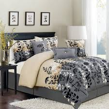 simple bedroom with gray cream combination bedding colors neutral