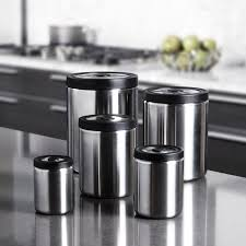 kitchen canisters stainless steel oxo steel presstop canister set 5 set