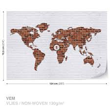 wall mural brick wall world map xxl photo wallpaper 2853dc ebay wall mural brick wall world map xxl photo