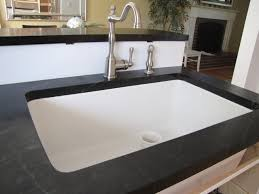 Black Countertop White Non Apron Sink