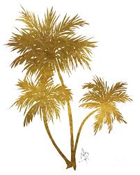 metallic gold palm trees tropical trendy painting by megan