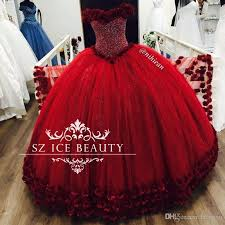 bling sequins crystal off shoulder red quinceanera dresses flowers