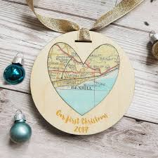 Christmas Map Personalised U0027first Christmas U0027 Map Decoration By And Bird