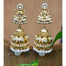 jhumka earrings gold plated goddess pearl jhumka earrings