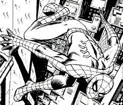 spiderman comic art black white